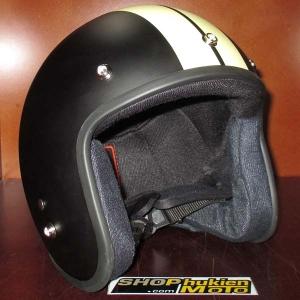 Mũ bảo hiểm 3/4 Dammtrax đen nhám sọc vàng sữa