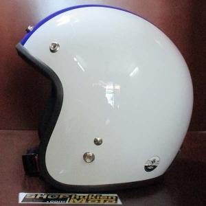 Mũ bảo hiểm dammtrax (Trắng bóng sọc xanh dương)