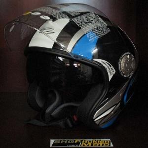 Mũ bảo hiểm 2 kính Zeus 608A black-blue