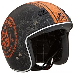 Mũ bảo hiểm 3/4 cafe racer Speed & Strength - SS600 (chuẩn DOT) (đen nhám/ cam)