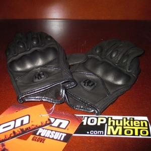 Găng tay da ICON (MSP:01) (đen/nhám) (size L/XL)