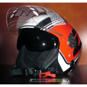 Mũ bảo hiểm 3/4 2 kính ZEUS (trắng/đỏ) (size: M/ L)