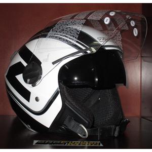 Mũ bảo hiểm 3/4 2 kính ZEUS (trắng/ đen) (size: M/ L)