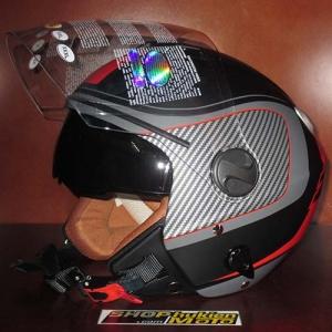 Mũ bảo hiểm 3/4 2 kính Bulldog đen đỏ xám nhám (size: M/ L/ XL)