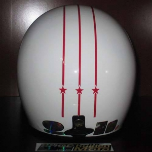Mũ bảo hiểm Andes trắng bóng sọc đỏ