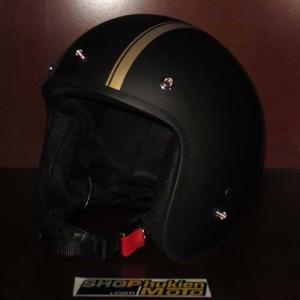 Mũ bảo hiểm 3/4 Dammtrax (đen nhám 2 sọc đồng nhỏ)