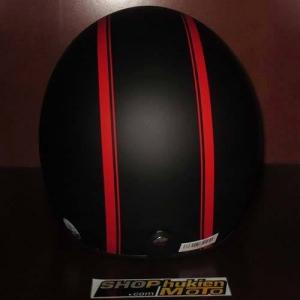 Mũ bảo hiểm 3/4 Dammtrax (đen nhám 2 sọc đỏ nhỏ)