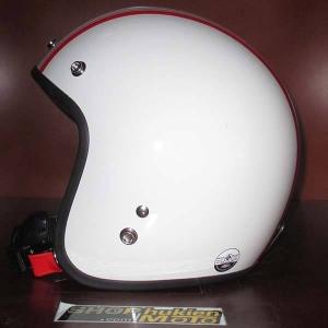 Mũ bảo hiểm 3/4 Dammtrax (Trắng bóng 2 sọc đỏ nhỏ)