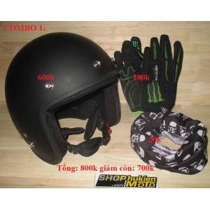 Gói COMBO 1: (Gồm: Mũ 3/4 DAMMTRAX Thái + Găng tay ONEAL + Khăn đa năng)