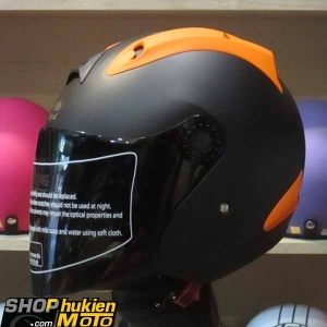 Mũ 3/4 ROYAL (Đen cam nhám) (Size: L)