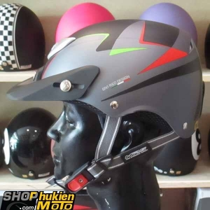 Mũ bảo hiểm 1/2 LOTO GIVI (đen xám đỏ/ nhám) (size M/ L)