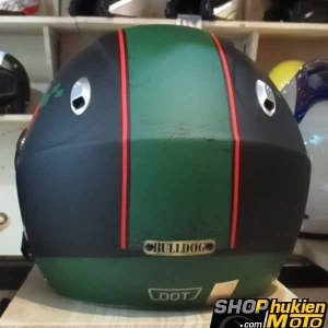 Mũ bảo hiểm 3/4 2 kính Bulldog (Đen xanh đỏ nhám) (size: L/ XL)