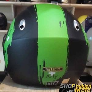 Mũ bảo hiểm 3/4 2 kính Bulldog (Đen sọc xanh nhám) (size: L/ XL)