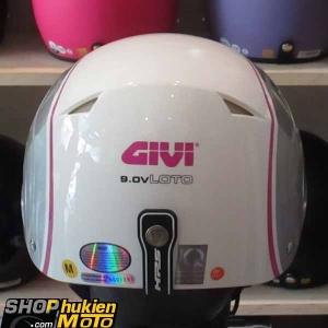 Mũ bảo hiểm 1/2 LOTO GIVI (Trắng hồng xám/ bóng) (size M/ L)