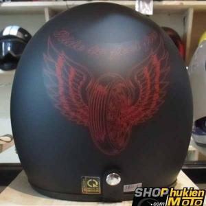 Mũ bảo hiểm 3/4 DAMMTRAX ASIA (Ride To Feel Free Đỏ)