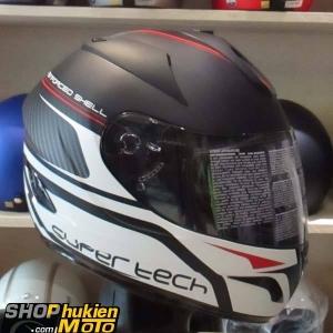Mũ Bảo Hiểm Fullface Bulldog 2 kính (Đen nhám hoa văn trắng đỏ) (size: L/XL)