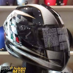 Mũ Bảo Hiểm Fullface Bulldog 2 kính (Đen trắng cờ Ý) (size: L/XL)