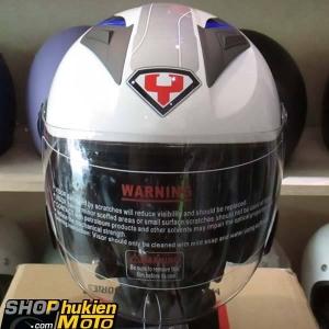 Mũ 3/4 YOHE 2 kính 868 (Trắng xám bóng viền xanh đậm) (Size: M/ L/ XL)