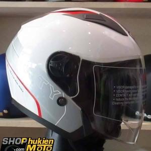 Mũ 3/4 YOHE 2 kính 868 (Trắng bóng sọc xám đỏ) (Size: M/ L/ XL)
