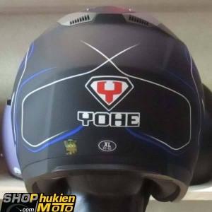 Mũ 3/4 YOHE 2 kính 868 (Đen nhám sọc xanh đậm) (Size: M/ L/ XL)