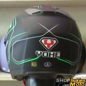 Mũ 3/4 YOHE 2 kính 868 (Đen nhám sọc xanh lá) (Size: M/ L/ XL)