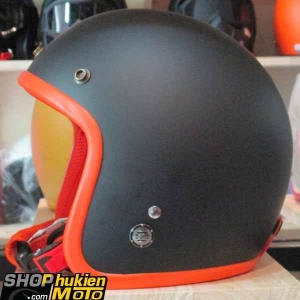 Mũ bảo hiểm 3/4 ROYAL M20 (Màu đen nhám viền cam) (Size M/ L)