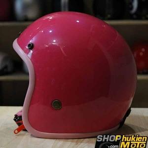 Mũ bảo hiểm 3/4 Bulldog (V1) (Hồng bóng) (size: M/L/XL)