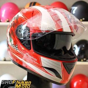 Mũ Bảo Hiểm Fullface Bulldog 2 kính (Đỏ Trắng bóng) (size: L/XL)