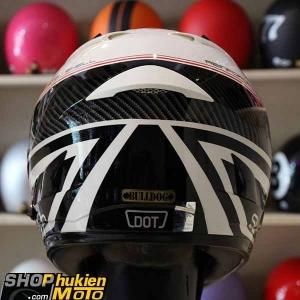Mũ Bảo Hiểm Fullface Bulldog 2 kính (Trắng bóng viền đen đỏ) (size: L/XL)