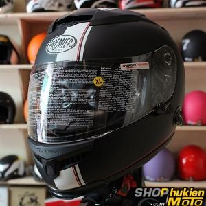 Mũ bảo hiểm Fullface Premier 2 kính (Đen nhám sọc trắng) (Size: L/XL)
