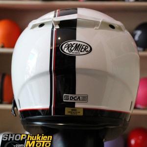 Mũ bảo hiểm Fullface Premier 2 kính (trắng đen bóng) (Size: L/XL)