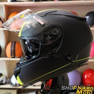 Mũ bảo hiểm Fullface Premier 2 kính (Đen nhám sọc vàng) (Size: L/XL)