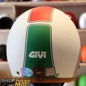 Mũ 3/4 GIVI Duho Graphics Tricolour Ice White (Size: M/L)