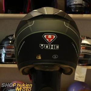 Mũ 3/4 Yohe 2 kính 868 (đen xám nhám sọc xám xanh) (Size: S/M/L/XL)
