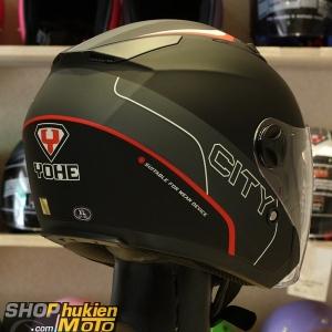 Mũ 3/4 Yohe 2 kính 868 (đen xám nhám sọc đỏ) (Size S/M/L/XL)