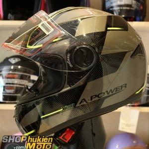 Mũ bảo hiểm fullface Yohe 962 (X100) (đen xám bóng sọc vàng) (Size: M/L/XL)