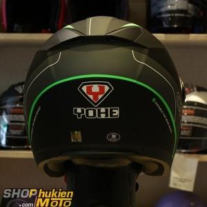 Mũ 3/4 Yohe 2 kính 868 (đen xám nhám sọc xanh lá) (Size: S/M/LXL)