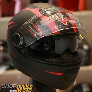 Mũ bảo hiểm Fullface YOHE 965 2 kính (đen sọc đỏ nhám) (Size: S/M/L/XL)