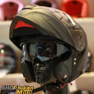 Mũ bảo hiểm lật cằm YOHE 950 (Đen viền xám nhám) (Size: S/M/L/XL)