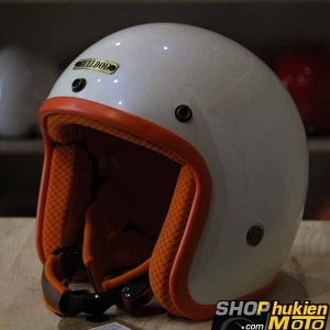 Mũ bảo hiểm 3/4 Bulldog (V1) (Ngọc trai viền cam) (size: M/L/XL)