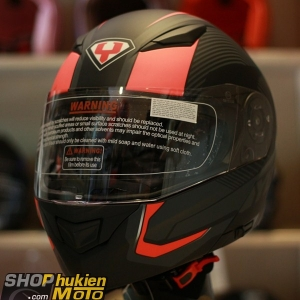Mũ bảo hiểm lật cằm YOHE 950 (Đen viền đỏ nhám) (Size: S/M/L/XL)