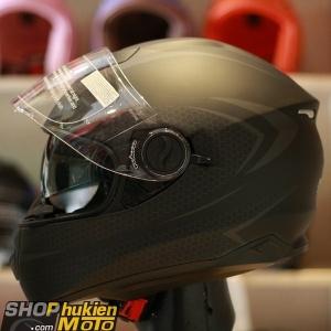Mũ bảo hiểm Fullface YOHE 965 2 kính (đen sọc xám nhám) (Size: S/M/L/XL)