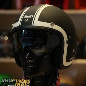 Mũ cafe racer 3/4 HJC FG 70s (Đensọc trắng) (size: L/ XL)