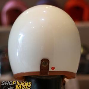 Mũ bảo hiểm 3/4 Bulldog (V2) (Trắng bóng viền nâu) (size: M/L/XL)