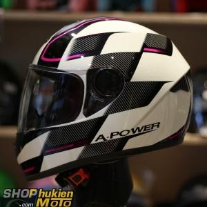 Mũ bảo hiểm fullface Yohe 962 (X100) (đen trắng bóng sọc hồng) (Size: S/M/L)