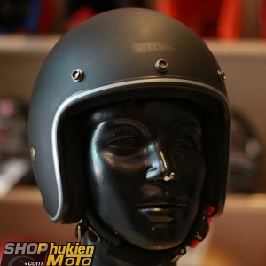 Mũ bảo hiểm 3/4 Bulldog Bravo (Đen nhám viền đen) (size:L)