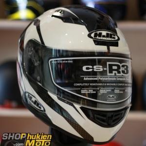 Mũ bảo hiểm Fullface HJC CS-R3 (Trắng bóng viền đen) (size: M)