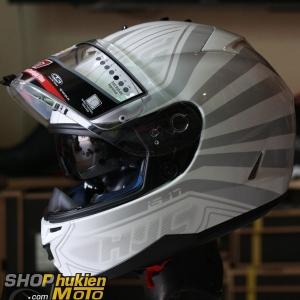Mũ bảo hiểm HJC IS-17 Ordin (Trắng bóng viền xám) (Size: L/XL)