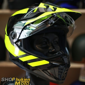 Mũ bảo hiểm Off Road- cào cào HJC DS-X1 (Đen bóng viền vàng) (Size: M/L/XL/XXL)