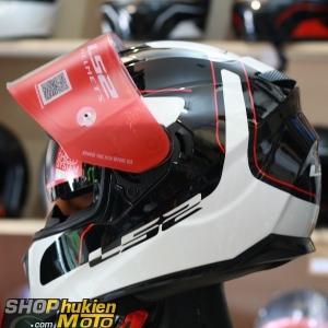 Mũ bảo hiểm Fullface LS2 FF320 Stream (Trắng đen bóng viền đỏ) (Size: S/M/L/XL)
